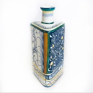 Vintage Italy Hand Painted Ceramic Triangle Vase